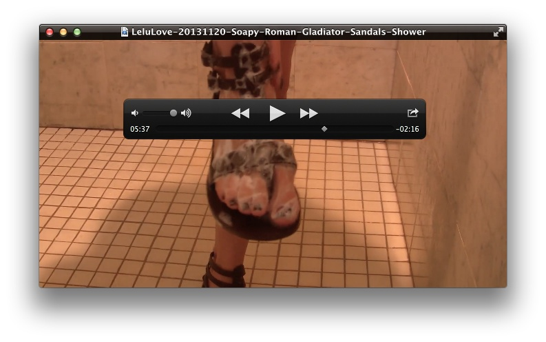 Soapy Roman Gladiator Sandals Shower<br>February 10, 2014